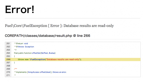 Fuel\Core\FuelException [ Error ]: Database results are read-only